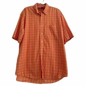 Alan Flusser Orange Plaid Short Sleeve Men's Shirt